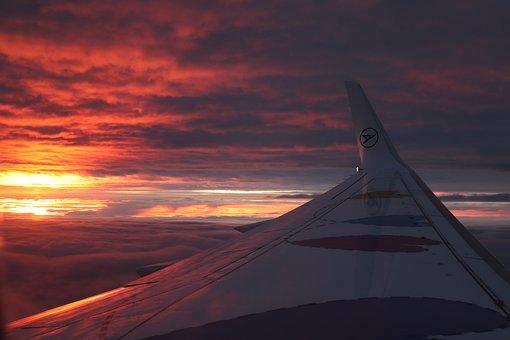 Sun, Aircraft, Clouds, Sky, Window, Aircraft Window