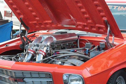 Drag Car, Engine, Drag, Automobile, Power, Muscle
