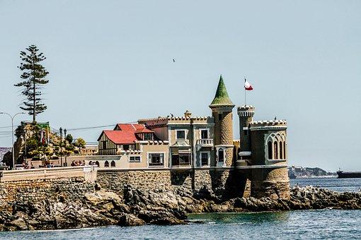 Viña Del Mar, Castle, Blue Sea, Ocean, Sea Beach