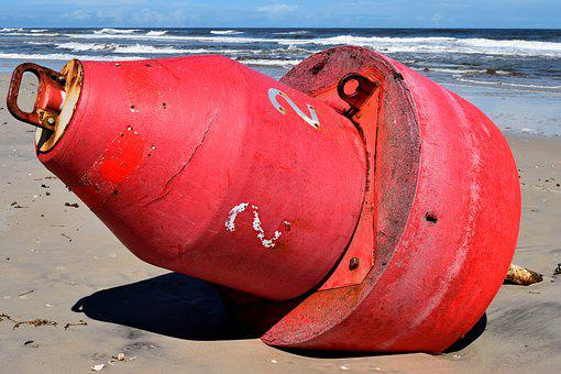 Buoy, Washed Up On Beach, Beach, Hurricane Irma