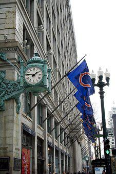 Clock, Macy's, Chicago, Chicago Cubs, Baseball, Loop