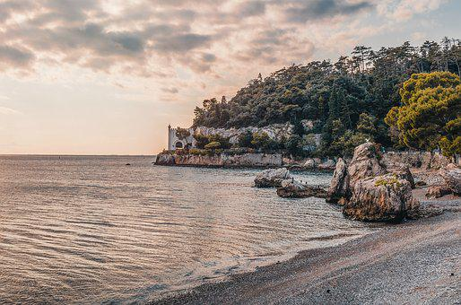 Bay, Beach, Castle, Coast, Dark, Clouds, Dawn, Daylight