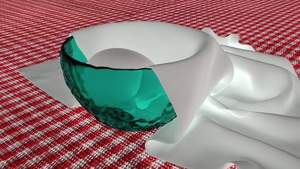 Reverse Luminosity, 3d, Egg, Napkin, Green Glass Bowl