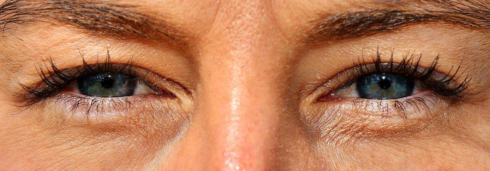 Eyes, Woman, Female, Close, Eyelashes, View, Blue