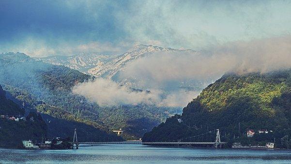 Bridge, Clouds, Daylight, Foggy, Forest, Hazy, Island