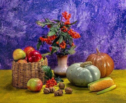 Pumpkin, Corn, Apples, Nuts, Food, Rowan, Wicker Basket