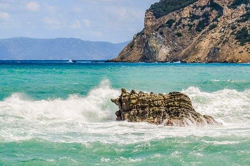 Greece, Skopelos, Landscape, Sea, Rock, Waves