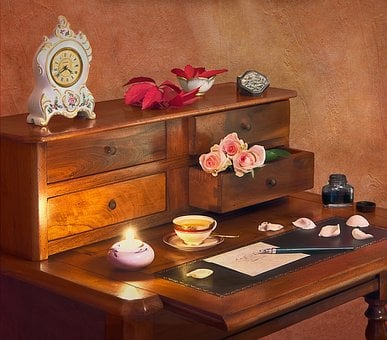 Office, Clock, Letter, To Write, Flowers, Roses, Leaves