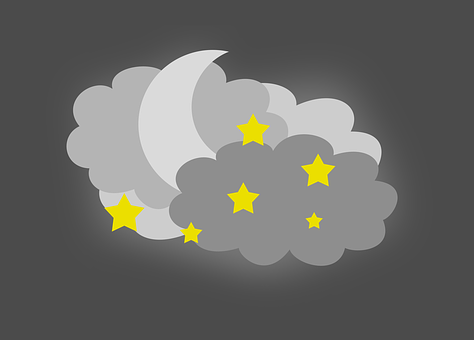 Night Sky, Moon In The Clouds, The Stars In The Sky