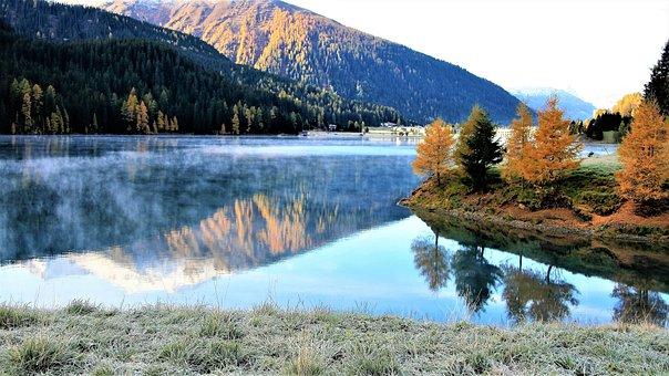 Fall Mountains, Lake, Morning, Haze, Frost, Landscape