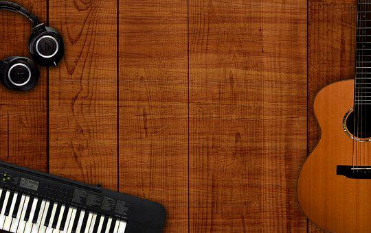Musical Background, Music Instruments On Table