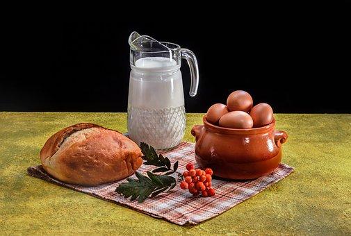Bread, Milk, Healthy Food, Chicken Eggs, Rowan, Napkin
