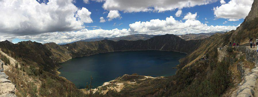 Quilotoa, Laguna, Panoramic, Panorama, Landscape