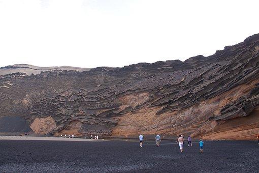 Volcano, Crater, Shore, Stone, Lava, Lanzarote
