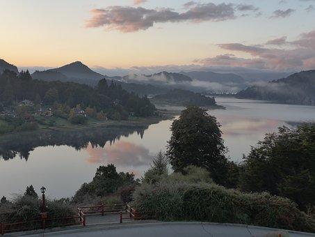 Llaollao, Argentina, Lake, Sunrise, Woods