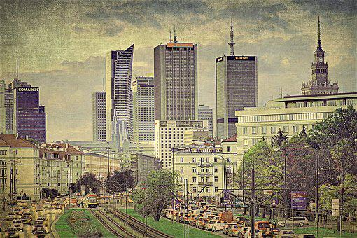 Warsaw, Graphics, The Centre Of, Skyscrapers