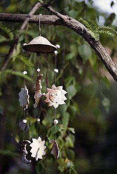 Wind Chime, Tree, Sun, Moon, Clay, Wind, Chime, Nature