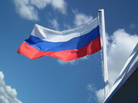 Flag, Russia, Moscow, Clouds, Flutter, White, Blue, Red