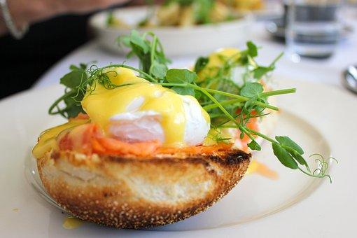 Cafe, Brunch, Eggs On Toast, Egg Benedict