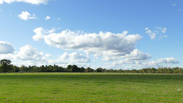Landscape, Sky, Clouds, Green Pasture, Coupling, Mood