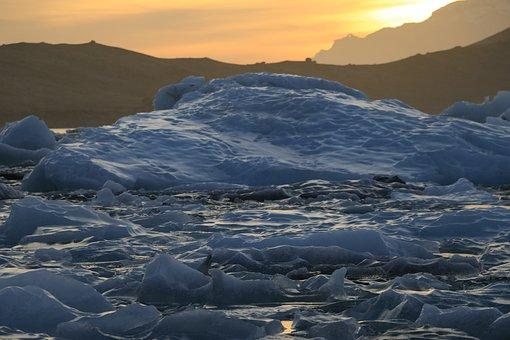 Iceland, Ice, Jokulsarlon, Sunset, Iceberg