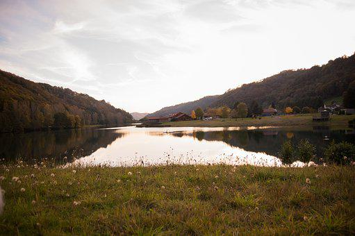 Cantal, Lake, Reflection, Fall, Pond, Mountain