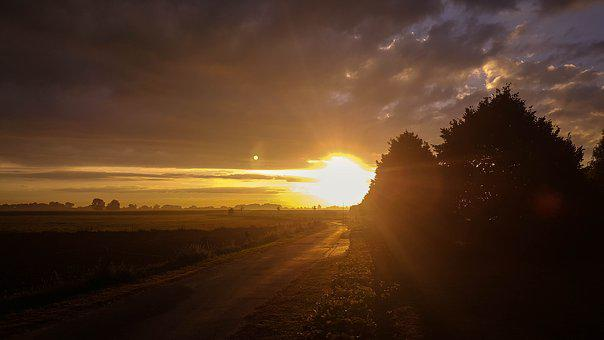 Morning, Sun, Away, Sunrise, Mood, Morgenstimmung