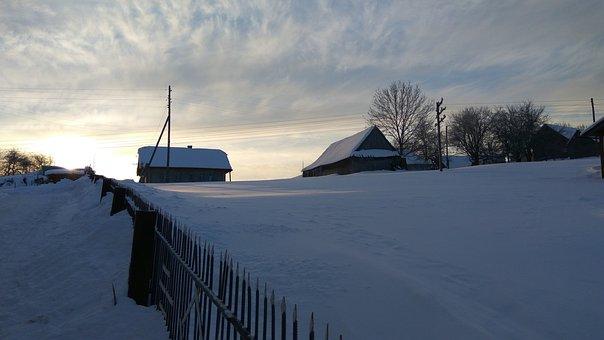 Morning, Village, The Carpathians, Winter, Snow