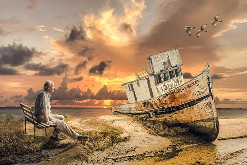 Old Boat, Old Man, Sea, Boat, Ship, Wreck