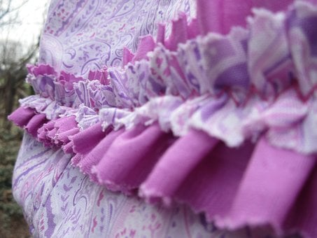 Cloth, Fabric, Textile, Ruffle, Frill, Paisley, Orchid