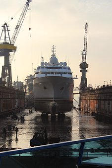 Ship, Shipyard, Hamburg, Dock, Dry Dock, Back Light