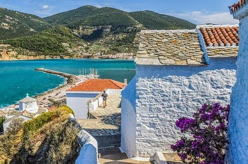 Greece, Skopelos, Architecture, Scenery, Island, Greek