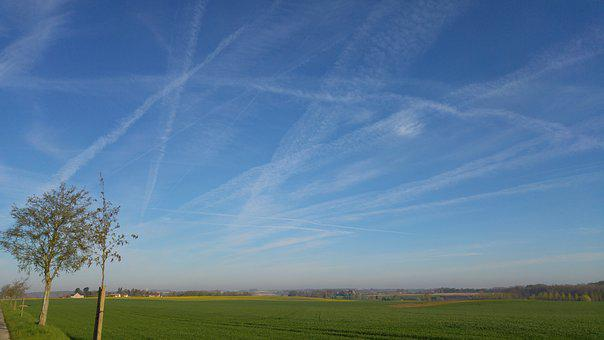 Sky Hazy, Chemtrails, Landscape, Walloon Brabant