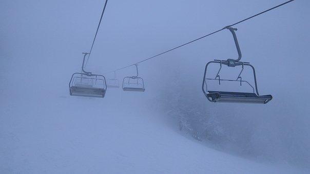 Winter, Mountains, The Carpathians, Fog, Snow, Slopes