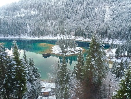 Lake Loved Frozen, Blue Lake With Snow, Lake With Snow