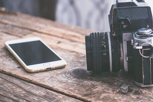 Background, Camera, Desk, Desktop, Iphone, Rustic