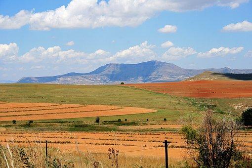 Mountain Landscape, Mountains, Farmland, Fields