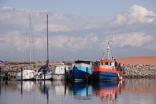 Fishing Boats, Port, Skudehavnen, Pier, Ship, Fish