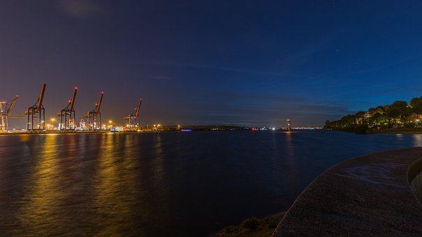 Hamburg, Elbe, Lights, Evening, Long Exposure, River