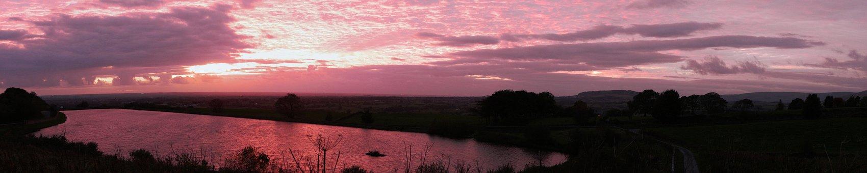 Sunset, Nature, Panoramic, Wide, Reflection, Sun, Warm