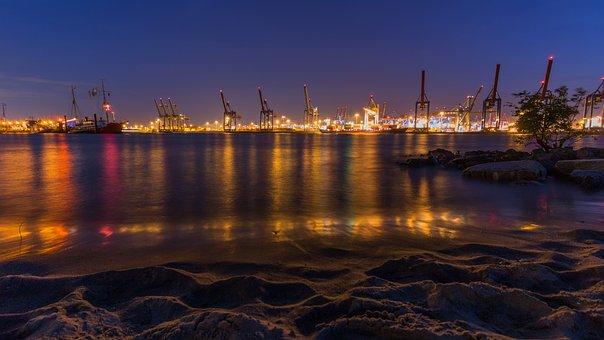 Hamburg, Elbe, Lights, Evening, Long Exposure, River