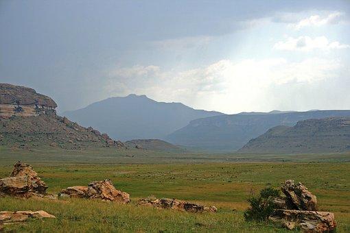 Mountain Landscape, Mountains, Blue, Rocks, Fields