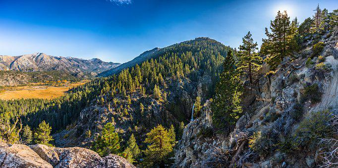 Mountains, Water Fall, Sky, Trees, Water, Nature