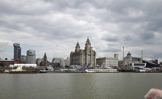 England, Liverpool, Skyline, River Mersey