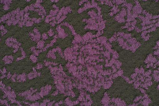 Purple, Black, Red, Fabric, Textile, Macro, Detail