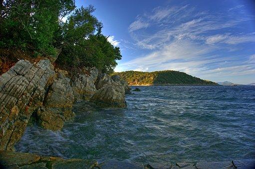 Greece, Mediterranean, Island, Stone, Coast, Water