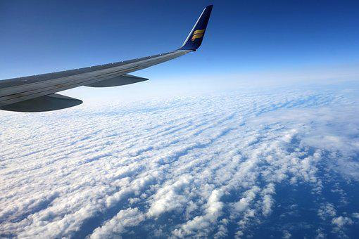 Fly, Sky, Horizon, Aircraft, Wing, Flyer, Clouds, Blue