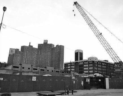 Construcion Site, Harlem, New York, Crane, Boards