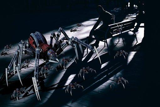 Spiders, Dark, Shadows, Mechanical, Mother, Horror