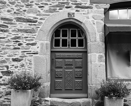 Door Wood Carved, Wall Stones, House Entrance, Pierre